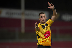 March 23, 2019 - Limerick, Ireland - Referee Dan Jones in action during the Guinness PRO14 match between Munster Rugby and Zebre at Thomond Park Stadium in Limerick, Ireland on March 23, 2019  (Credit Image: © Andrew Surma/NurPhoto via ZUMA Press)