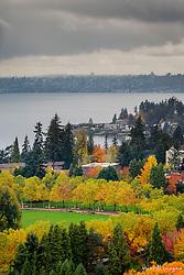 USA, Washington, Bellevue. View toward Meydenbauer Bay.