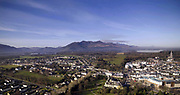 An aerial photo view of Killarney Town showing St. Mary's Cathedral Carrauntoohill Mountain and Lough Lein.<br /> Photo: Don MacMonagle<br /> macmonagle.com
