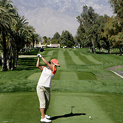 LPGA player tees off at the Mission Hills Country Club during the Kraft Nabisco Championship in Rancho Mirage, California.