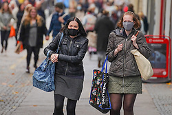 © Licensed to London News Pictures 17/10/2020. Sheffield , UK. Shoppers walk in the city center of Sheffield this afternoon.  Coronavirus infections continue to rise across Sheffield as the city from Wednesday is in Tier 2 of new restrictions. 418 cases per 100,000 people have identified in the seven days till 10 October 2020. Photo credit: Ioannis Alexopoulos/LNP