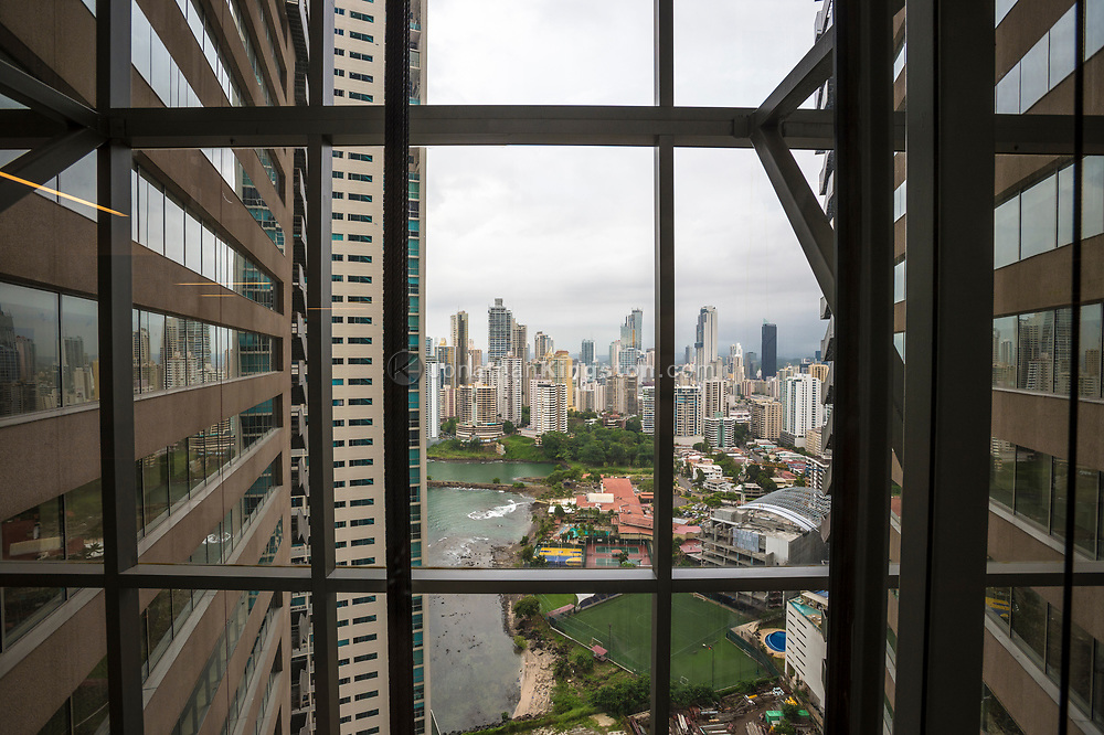 View of Panama city's skyline in the day from the Trump Hotel, Panama.