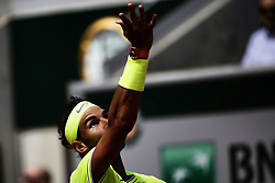 May 29, 2019 - Paris, France - Spain's Rafael Nadal serves the ball to Germany's Yannick Maden during their men's singles second round match on day four of The Roland Garros 2019 French Open tennis tournament in Paris on May 29, 2019. (Credit Image: © Ibrahim Ezzat/NurPhoto via ZUMA Press)