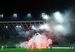 Viole, fans of Maribor celebrate with pyrotechnic firework  after scoring second goal during football match between NK Olimpija Ljubljana and NK Maribor in 15th Round of Prva liga Telekom Slovenije 2015/16, on November 21, 2015 in SRC Stozice, Ljubljana, Slovenia. Photo by Vid Ponikvar / Sportida