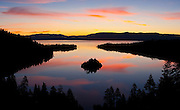 Dawn at Emerald Bay, Lake Tahoe. This large freshwater lake in the Sierra Nevada mountain range lies on the California/Nevada Border. At a surface elevation of 6,225 ft Lake Tahoe is the largest alpine lake in North America with a epth of 1,645 ft.