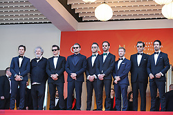 Nelson Piquet Jr., Malcolm Venville, Orlando Bloom, Leonardo DiCaprio, Andre Lotterer, Jean-Eric Vergne and Sam Bird attend the screening of The Traitor during the 72nd annual Cannes Film Festival on May 23, 2019 in Cannes, France. Photo by Shootpix/ABACAPRESS.COM