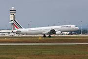 Airfrance Airbus A321 passenger jet at takeoff Photographed at Malpensa Airport, Milan, Italy