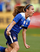 CHATTANOOGA, TN - AUGUST 19:  Midfielder Heather O'Reilly #9 of the United States celebrates after scoring in the first half during the friendly match against Costa Rica at Finley Stadium on August 19, 2015 in Chattanooga, Tennessee.  (Photo by Mike Zarrilli/Getty Images)