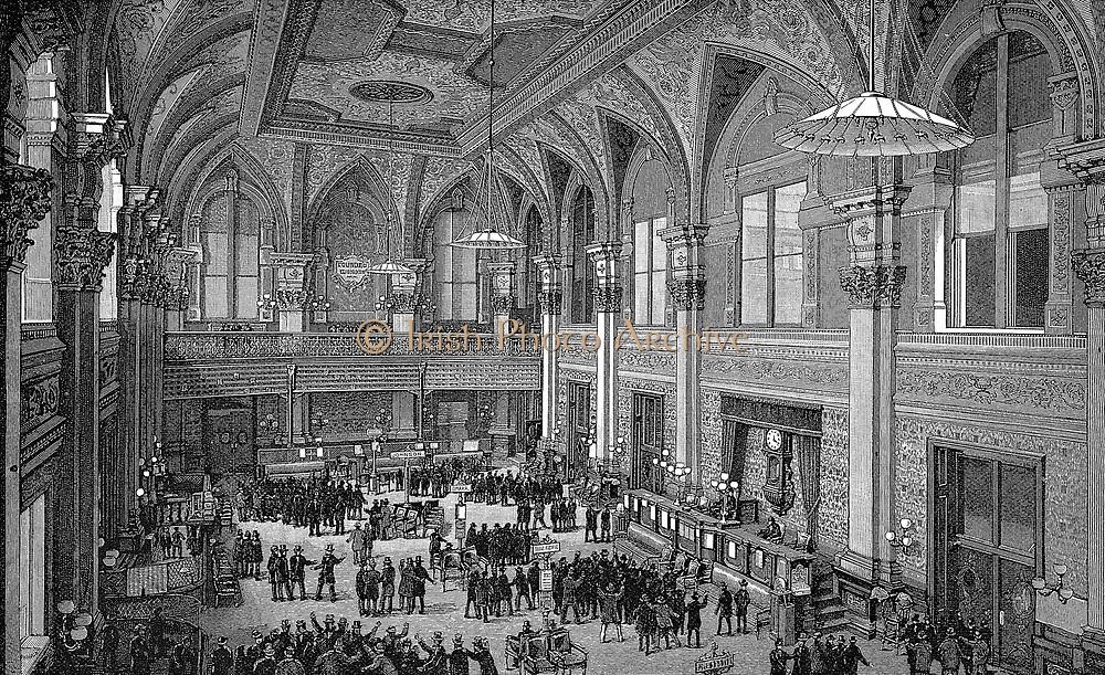 Floor of the New York Stock Exchange. Engraving, 1885