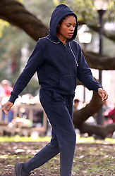 "EXCLUSIVE: **First on Set Photos** ""Moonlight"" actress Naomie Harris does some jogging in the park in the first on set photos of her new movie ""Black and Blue"" which is currently filming in New Orleans, Louisiana. Harris plays a rookie Detroit African-American female cop who stumbles upon corrupt officers who are murdering a drug dealer, an incident captured by her body cam. They pursue her through the night in an attempt to destroy the footage, but to make matters worse, they've tipped off a criminal gang that she's responsible for the dealer's death. Tyrese Gibson and Frank Grillo will also costar in this Action movie. Naomie was seen with little makeup and was wearing a navy blue jogging suit and black Nike tennis shoes. 23 Jan 2019 Pictured: Naomie Harris. Photo credit: MEGA TheMegaAgency.com +1 888 505 6342"