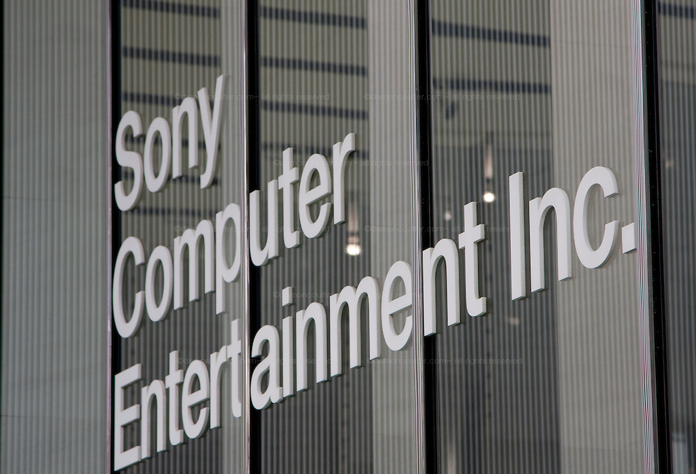 A sign on the entrance of Sony Computer Entertainment headquarters, Aoyama Itchome, Tokyo, Japan January 21st 2010