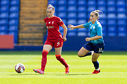 BIRKENHEAD, ENGLAND - Sunday, August 29, 2021: Liverpool's Charlotte Wardlaw (L) and London City Lionesses' Jamie-Lee Napier during the FA Women's Championship game between Liverpool FC Women and London City Lionesses FC at Prenton Park. London City won 1-0. (Pic by Paul Currie/Propaganda)