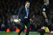 West Ham United manager Slaven Bilic shouting at the assistant referee. The Emirates FA cup, 6th round replay match, West Ham Utd v Manchester Utd at the Boleyn Ground, Upton Park  in London on Wednesday 13th April 2016.<br /> pic by John Patrick Fletcher, Andrew Orchard sports photography.
