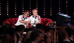 David Baddiel (left) and Frank Skinner on stage during the BBC Sports Personality of the Year 2018 at Birmingham Genting Arena.