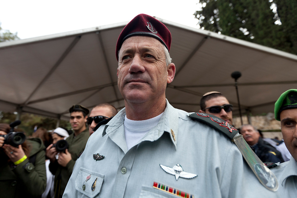 IDF Chief of Staff, Lieutenant-General Benny Gantz is seen at the conclusion of the annual memorial service for fallen Israeli sailors who died in the Dakar Submarine that went missing in 1968, at Mount Herzl Military Cemetery in Jerusalem, Israel, on January 24, 2012.