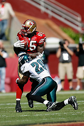 12 Oct 2008: Philadelphia Eagles FS Brian Dawkins #20 moves in on San Francisco 49ers tight end Vernon Davis #85 during the game against the San Francisco 49ers on October 12th, 2008. The Eagles won 40-26 at Candlestick Park in San Francisco, California. (Photo by Brian Garfinkel) (Photo by Brian Garfinkel)