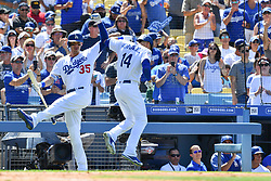 June 10, 2018 - Los Angeles, CA, U.S. - LOS ANGELES, CA - JUNE 10: Los Angeles Dodgers outfielder Enrique Hernandez (14) celebrates with Los Angeles Dodgers first baseman Cody Bellinger (35) after his home run during a MLB game between the Atlanta Braves and the Los Angeles Dodgers on June 10, 2018 at Dodger Stadium in Los Angeles, CA. (Photo by Brian Rothmuller/Icon Sportswire) (Credit Image: © Brian Rothmuller/Icon SMI via ZUMA Press)