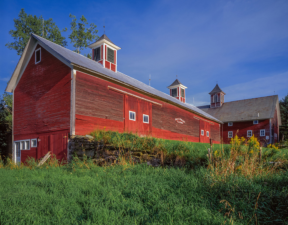 Large red barn complex with three cupolas, Greenmont Farms, Underhill, VT