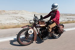 Ziggy riding his 1928 Indian 101 Scout on the Motorcycle Cannonball coast to coast vintage run. Stage 9 (294 miles) from Pierre to Sturgis, SD. Sunday September 16, 2018. Photography ©2018 Michael Lichter.