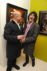 PAUL KARSLAKE and RONNIE WOOD at an exhibition of artist Paul Karslake's work entitled Ideas & Idols, held at Scream, 34 Bruton Street, London W1 on 21st February 2008.<br /><br />NON EXCLUSIVE - WORLD RIGHTS