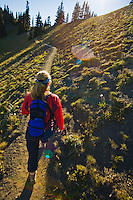 woman hiking a trail on Hurricane Ridge in Olympic National Park