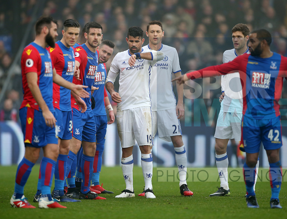 Crystal Palace's defence next to Chelsea's Diego Costa during the Premier League match at Selhurst Park Stadium, London. Picture date December 17th, 2016 Pic David Klein/Sportimage