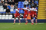 Middlesbrough's Mustapha Carayol (L) is congratulated by his team mates on scoring his sides 1st goal during the Skybet football league championship match, Birmingham city v Middlesbrough at St.Andrew's in Birmingham, England on Sat 7th Dec 2013. pic by Jeff Thomas/Andrew Orchard sports photography.