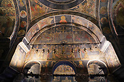 Interior of the Stavropoleos Monastery (aka Stavropoleos Church) in Bucharest, Romania