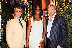 Left to right, MATT LEBLANC, VENUS WILLIAMS and BORIS BECKERat the Ralph Lauren Wimbledon Party held at Ralph Lauren, 1 New Bond Street, London on 17th June 2010.