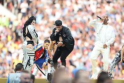 Will Smith (right) Nicky Jam and Era Istrefi perform at the closing ceremony during the FIFA World Cup Final at the Luzhniki Stadium, Moscow.
