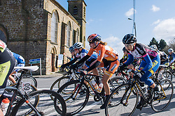 Tessa Neefjes and Demi de Jong take the corner at speed - Le Samyn des Dames 2016, a 113km road race from Quaregnon to Dour, on March 2, 2016 in Hainaut, Belgium.