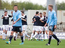Falkirk's Jay Fulton (right) cele scoring the second goal<br /> Falkirk 3 v 1 Dundee, 21/9/2013.<br /> ©Michael Schofield.