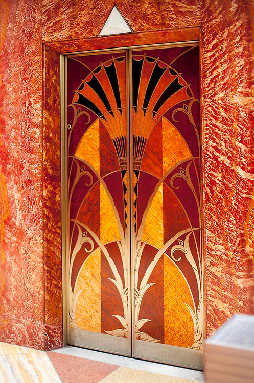 An exotic wood inlaid, elevator door in the Art Deco lobby of the Chrysler Building