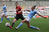 Manchester City forward Georgia Stanway (10) shoots at goal during the FA Women's Super League match between Manchester United Women and Manchester City Women at Leigh Sports Village, Leigh, United Kingdom on 14 November 2020.