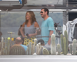 EXCLUSIVE ***NO WEB WITHOUT APPROVAL FROM VANTAGE NEWS***Jennifer Aniston ,Adam Sandler & Luke Evans are seen on board a luxury yacht filming scenes for the new movie 'Murder Mystery' filming in Santa Margherita Ligure, Italy<br /> <br /> 28 July 2018.<br /> <br /> Please byline: Vantagenews.com