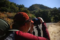 August 21, 2017 - Silverado, California, U.S - Sarah Jane Murray prepares her camera to photograph the solar eclipse in Silverado Canyon. (Credit Image: © Katie Graves/Stumbleweeds via ZUMA Wire)