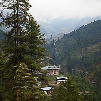 Asia, Bhutan, Trongsa. Hillside landscape scene of Bhutan.