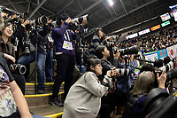 KELOWNA, BC - OCTOBER 25: Foreign media try to capture a glimpse of Japanese figure skater Yuzuru Hanyu as he awaits his score after the men's short program at Skate Canada International held at Prospera Place on October 25, 2019 in Kelowna, Canada. (Photo by Marissa Baecker/Shoot the Breeze)
