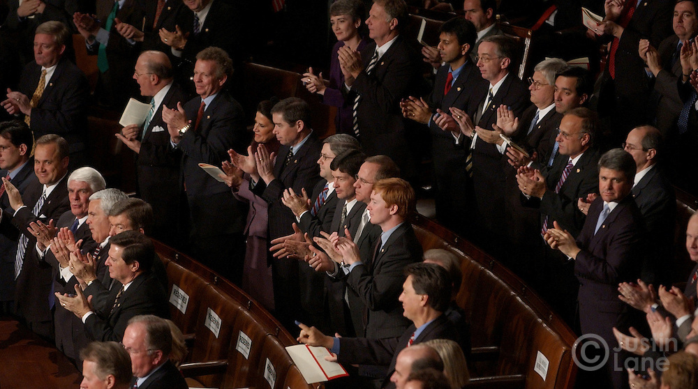 Members of the United States Congress give President George W. Bush a standing ovation during his 2005 State of the Union address in Washington, DC Wednesday, Feb. 2, 2005.