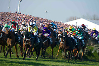 National Hunt Horse Racing - 2017 Randox Grand National Festival - Saturday, Day Three [Grand National Day]<br /> <br /> The field jump the water jump in  the 5.15, the Randox Health Grand National  at Aintree Racecourse.<br /> <br /> COLORSPORT/WINSTON BYNORTH<br /> <br /> <br /> <br /> <br /> <br /> <br /> <br /> <br /> <br /> <br /> National Hunt Horse Racing - 2017 Randox Grand National Festival - Saturday, Day Three [Grand National Day]<br /> <br />  in the 1st race the 1.45 Gaskells Handicap Hurdle at Aintree Racecourse.<br /> <br /> COLORSPORT/WINSTON BYNORTH