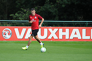 Gareth Bale trains during the Wales football team training session at the Vale , Hensol near Cardiff,  South Wales on Tuesday 3rd Sept 2013, the team are training ahead of their next FIFA World cup qualifier. pic by Andrew Orchard,  Andrew Orchard sports photography,