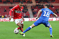 Peterborough United defender Danny Lafferty (18) and Middlesbrough midfielder Rajiv Van La Parra (29)  battle for the ball during The FA Cup 3rd round match between Middlesbrough and Peterborough United at the Riverside Stadium, Middlesbrough, England on 5 January 2019.