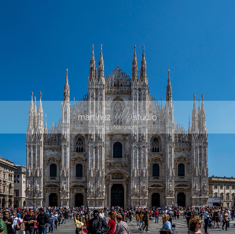 View of the Milan Cathedral, The Duomo<br /> <br /> Milan, Italy<br /> April, 20, 2019
