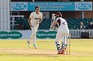 Rob Keogh hits Chris Wright for 4 during the Specsavers County Champ Div 2 match between Leicestershire County Cricket Club and Northamptonshire County Cricket Club at the Fischer County Ground, Grace Road, Leicester, United Kingdom on 11 September 2019.