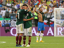 July 2, 2018 - Samara, Russia - July 2, 2018, Russia, Samara, FIFA World Cup 2018, 1/8 finals. Football match of Brazil - Mexico at the stadium Samara - Arena. Player of the national team Irving Lozano (22), Miguel Lyoyun  (Credit Image: © Russian Look via ZUMA Wire)
