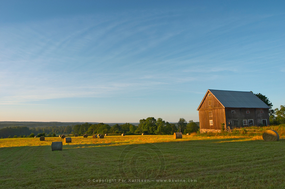 Cut field with hay bales at sunrise. Old farm house barn. Traditional style Swedish wooden painted house. Barn Smaland region. Sweden, Europe.