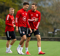 CARDIFF, WALES - Saturday, September 5, 2020: Wales' Ethan Ampadu (L) and Tom Lockyer during a training session at the Vale Resort ahead of the UEFA Nations League Group Stage League B Group 4 match between Wales and Bulgaria. (Pic by David Rawcliffe/Propaganda)