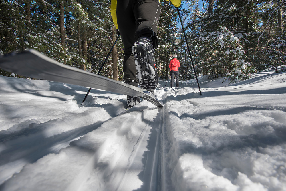 Cross-country skiing nordic skiing at Tahquamenon Falls State Park near Newberry, Michigan.