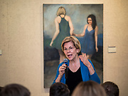 03 MAY 2019 - AMES, IOWA: Sen. ELIZABETH WARREN (D-MA) talks to people in the overflow room at her campaign appearance at Iowa State University in Ames. About 400 people attended the event. Sen. Warren is campaigning in Iowa Friday and Saturday to promote her bid to be the Democratic candidate for the US Presidency. Iowa traditionally hosts the the first selection event of the presidential election cycle. The Iowa Caucuses will be on Feb. 3, 2020.     PHOTO BY JACK KURTZ