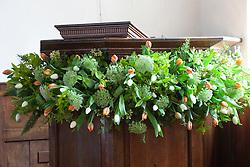 Church flower arrangement. Pulpit finished